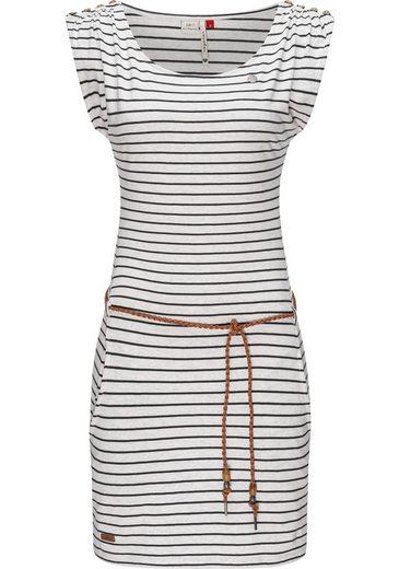 Ragwear Shirtkleid »Chego Stripes Intl.« stylisches Sommerkleid mit Print und Bindeband