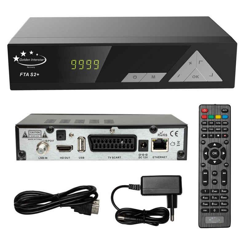 Golden Interstar »HD FTA S2+ Digitaler FullHD Satelliten Receiver« SAT-Receiver (Digitalreceiver für hochauflösenden HD Empfang, 1080p, Scart, HDMI, LAN Netzwerk, USB Mediaplayer, EPG, Youtube IPTV Player fähig)