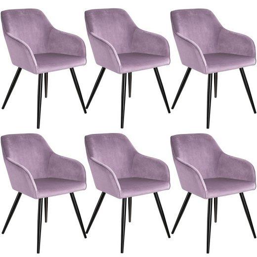 tectake Esszimmerstuhl »6er Set Stuhl Marilyn Samtoptik, schwarze« (6 Stück), gepolstert