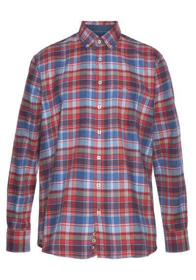 FYNCH-HATTON Flanellhemd mit kleiner Logostickerei