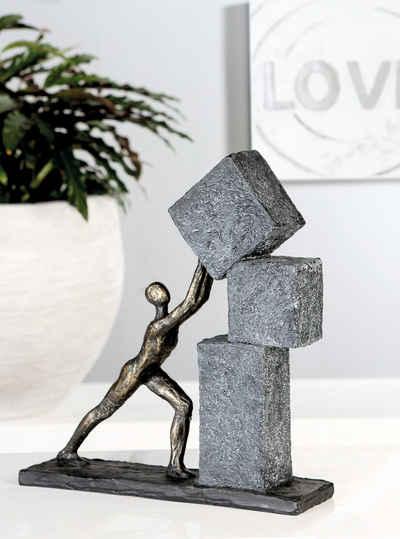 Casablanca by Gilde Dekofigur »Skulptur Stacking, bronzefarben/grau« (1 Stück), Dekoobjekt, Höhe 31, mit Spruchanhänger, Wohnzimmer