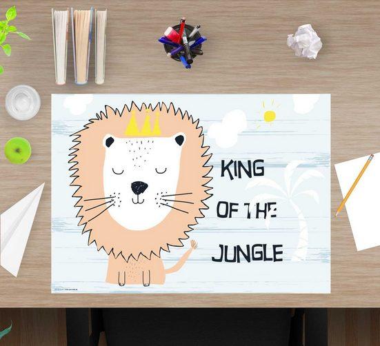 cover-your-desk.de Schreibtischaufsatz »Schreibtischunterlage für Kinder – King of the jungle – 60 x 40 cm – aus hochwertigem Vinyl«, (1-St)