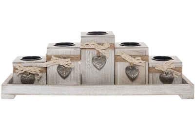elbmöbel Kerzentablett »5 Teelichthalter mit Tablett eckig«, Teelichthalter: 5er Set Tablett 13x39x12 cm natur holz kerzenhalter rustikal Dekorativ Herz