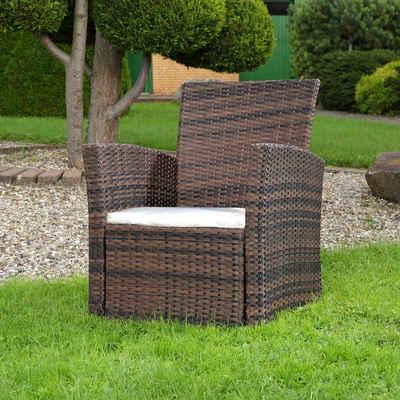 Mucola Gartensessel »Lounge Sessel aus Poly Rattan Garten Terrassen Sessel Gartenstuhl Braun Stuhl Polyrattan Rattanstuhl Hochlehner Gartensessel«
