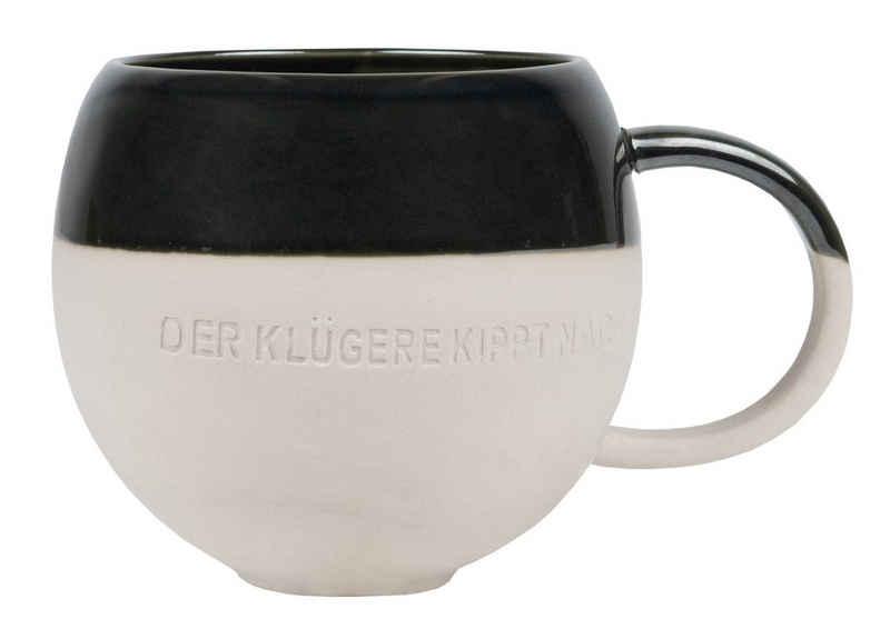 Räder Design Tasse »Großer Becher, Der Klügere kippt nach, mit Henkel«, Steinzeug, Steinzeug Tasse zweifarbig