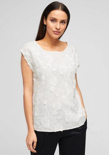 s.Oliver BLACK LABEL Kurzarmshirt »Shirt mit floraler Stickerei« (1-tlg) Spitze, Stickerei