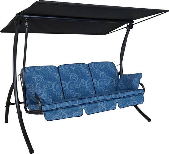 ANGERER FREIZEITMÖBEL Hollywoodschaukel »Santorin«, 3-Sitzer, blau