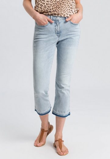 MARC AUREL 5-Pocket-Jeans mit ausgefranstem Saum