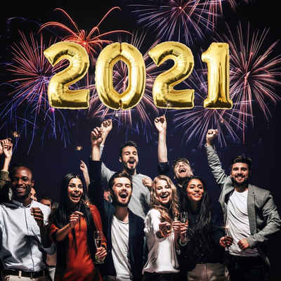 "MyBeautyworld24 Folienballon »Folienballon für Silvester ""2021"" Neujahr Zahlenballon Happy New Year in der Farbe gold Heliumballon Party Riesenzahl Luftballon Deko 100 cm«"