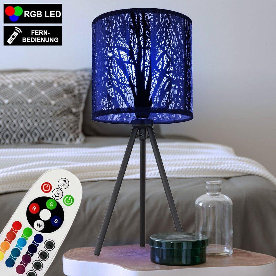 etc shop Tischleuchte, Nacht Schreib Tisch Leuchte Fernbedienung Lese Lampe  Muster schwarz dimmbar im Set inkl. RGB LED Leuchtmittel online kaufen   ...
