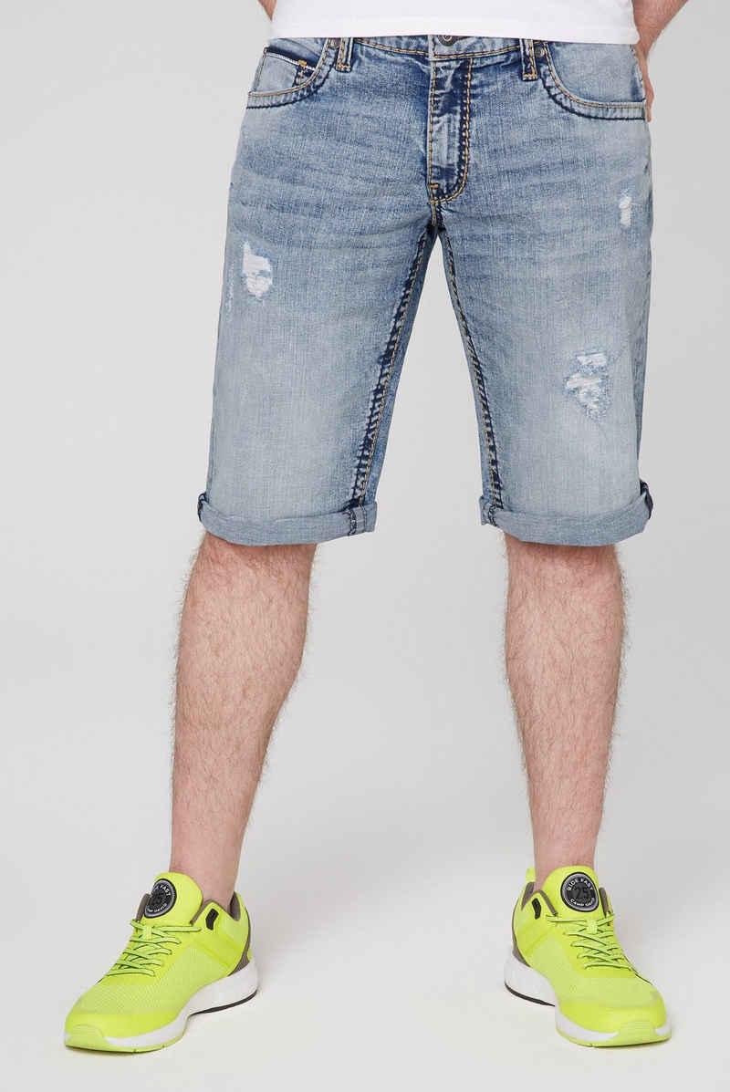 CAMP DAVID Jeansbermudas mit Destroy-Effekte