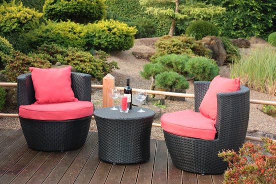 5-tlg. Gartenmöbelset »Linz«, 2 Sessel + Auflagen, Tisch Ø58 cm, Polyrattan, schwarz