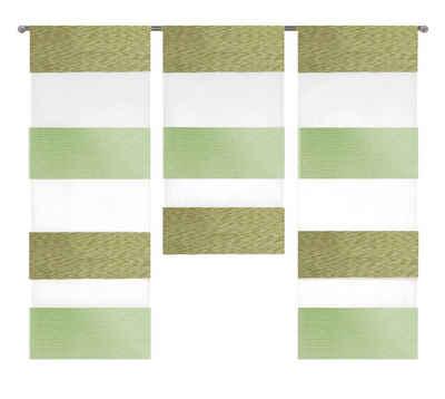 Scheibengardine »3er Set Miniflächen Scheibengardine Küchengardine Tunnelzug 2280«, EXPERIENCE, Stangendurchzug (3 Stück), 3er Set Flächenvorhänge