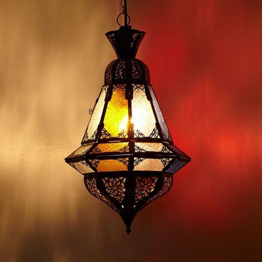 Casa Moro Deckenleuchte »Orientalische Pendelleuchte Marokkanische Lampe Houta Multifarbig H 52 cm, Echtes Kunsthandwerk aus Marokko wie aus 1001 Nacht, Handmade Pendellampe handgefertigte Hängelampe, L1281«