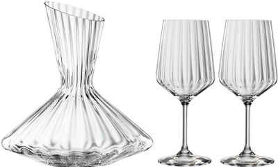 SPIEGELAU Dekanter »Lifestyle«, (Set, 3-tlg), Kristallglas, (1x Dekanter, 2x Rotweinglas)
