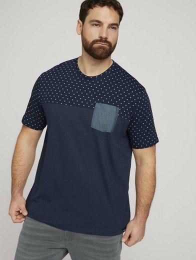 TOM TAILOR Men Plus T-Shirt »gepunktetes T-Shirt mit Bio-Baumwolle«