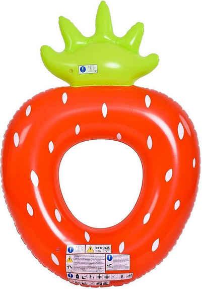 SunClub Schwimmreifen »Schwimmring / Schwimmhilfe - Poolspielzeug für« (Packung, Lieferumfang: 1 Schwimmring Erdbeere), Größe aufgeblasen: 101x76 cm, im Erdbeer Design
