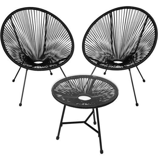 tectake Gartenmöbelset »2 Gartenstühle Gabriella mit Tisch«, (3-tlg., set_includes_chairs,set_includes_dining_table)