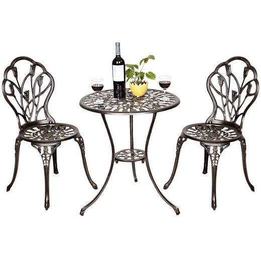 COSTWAY Balkonset »Bistroset Gartenset Gartentisch mit 2 Stühlen«, 3tlg. aus Aluminiumguss, antik