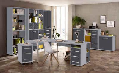 Maja Möbel Eckschreibtisch »Maja Set+ Set 13« (Büromöbel-Set Büro Aktenschränke abschließbar, Made in Germany), wechselseitig montierbarer Winkelschreibtisch