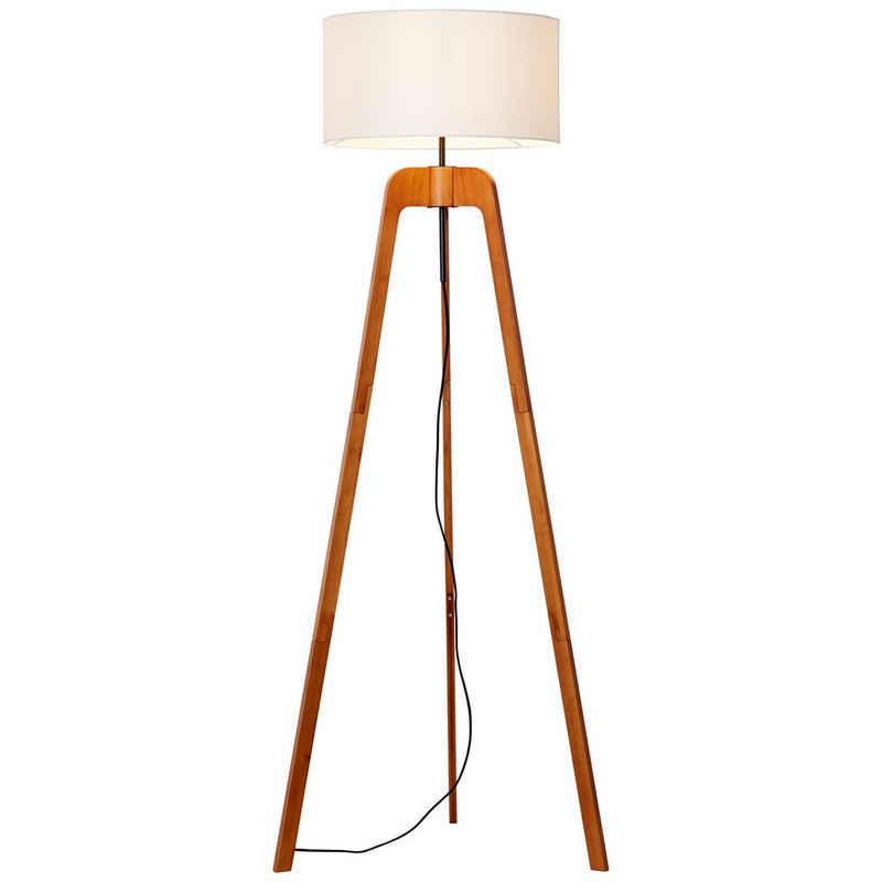 Brilliant Leuchten Stehlampe »Nola«, dreibeinig holz dunkel/weiß