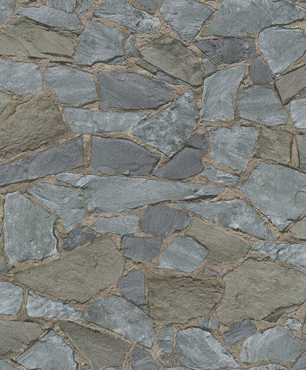 Marburg Vliestapete »grau-braun«, Steinoptik, restlos abziehbar