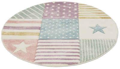 Kinderteppich »Stern«, Lüttenhütt, rund, Höhe 13 mm, handgearbeiteter Konturenschnitt, Pastellfarben