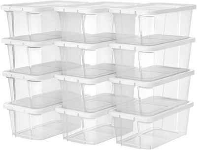 SONGMICS Schuhbox »LSP12WT LSP12BK«, 12er Set Aufbewahrungsboxen, weiß