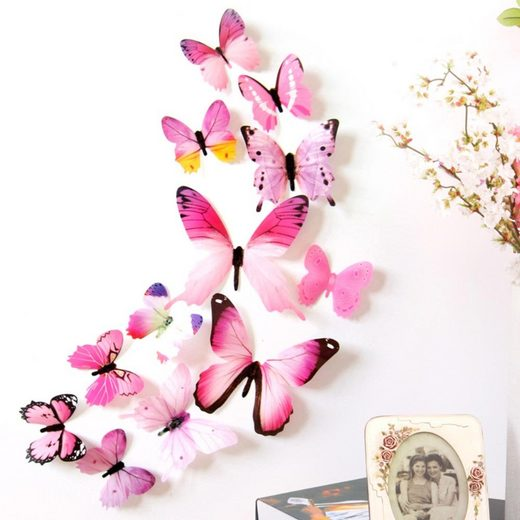 Masbekte Wandsticker, Wandbilder, Wandtattoos, 3D Schmetterlinge, Wandbehang Wanddeko, Garten, Innen Dekoration