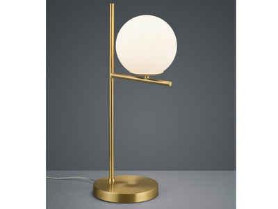 meineWunschleuchte LED Tischleuchte, Außergewöhnliche Designer Lampe mit Lampenschirm Kugel Milch-Glas, Messing, minimalistisch, mit Schnur-Schalter