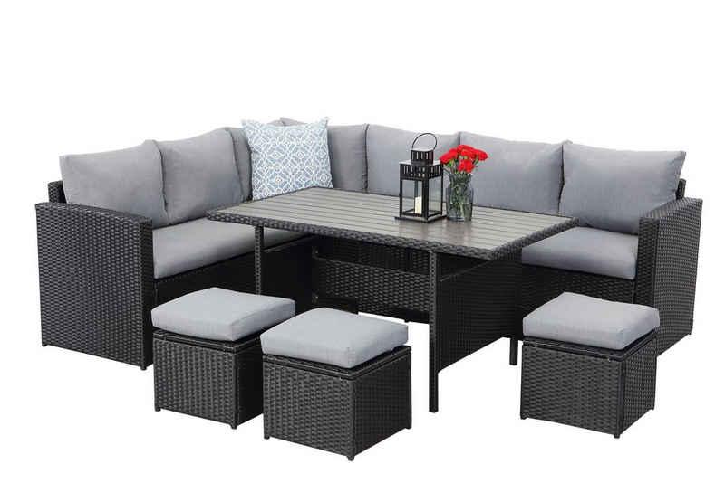MeXo Gartenmöbelset, Gartenmöbel Set Rattan Lounge Set Polyrattan Lounge Sitzgruppe Couch-Set für 9 Personen für Garten, Terrasse & Balkon