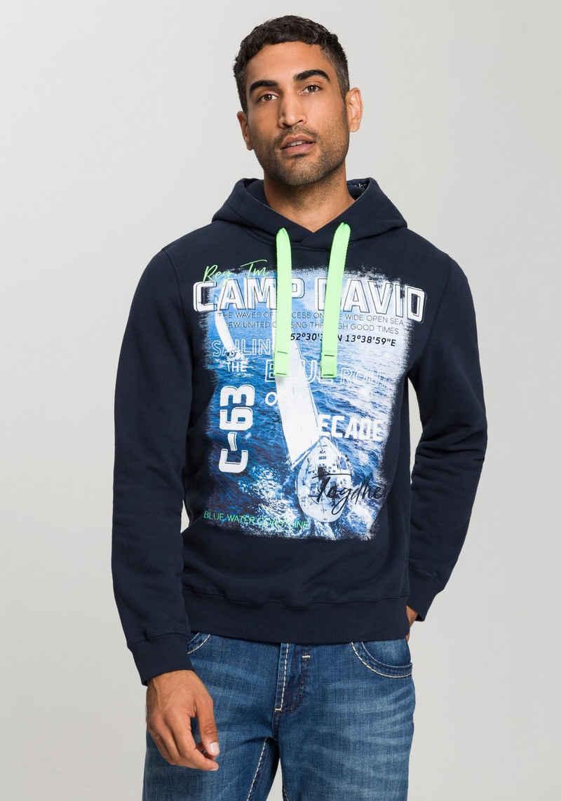 CAMP DAVID Kapuzensweatshirt Mit vielen großen Printelementen