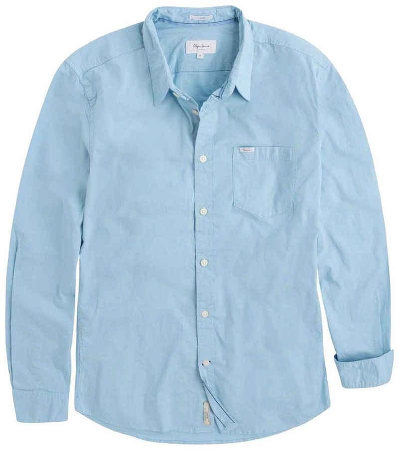 Pepe Jeans Langarmhemd »Pepe Jeans Ridleys Langarm-Hemd schlichtes Herren Business-Hemd mit Brusttasche Freizeit-Hemd Blau«