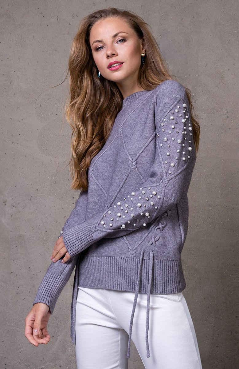 Passioni Strickpullover »Pullover mit Strickmuster und raffinierter Schnürung«