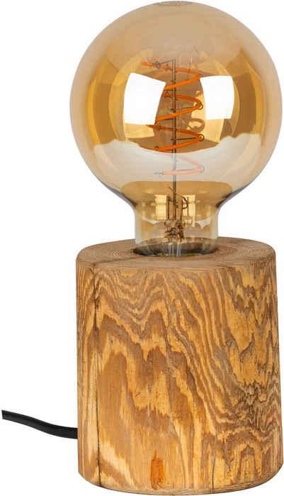 OTTO products Tischleuchte »Tomma«, Naturprodukt mit FSC®-Zertifikat aus Massivholz, Leuchtmittel inklusive, Made in Europe, Schnurschalter