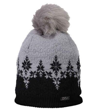 CAMPAGNOLO Beanie »Campagnolo Knitted Mütze wärmende Damen Winter-Mütze mit Bommel und Futter Strick-Mütze Schwarz«