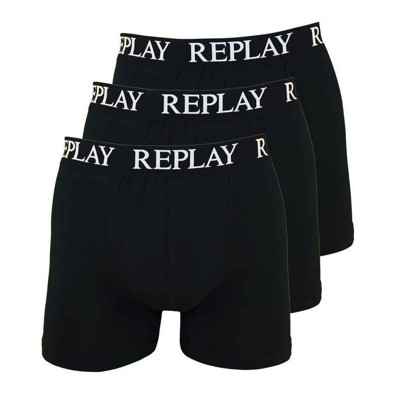 Replay Boxershorts »Basic Cuff Logo« im 3er Pack
