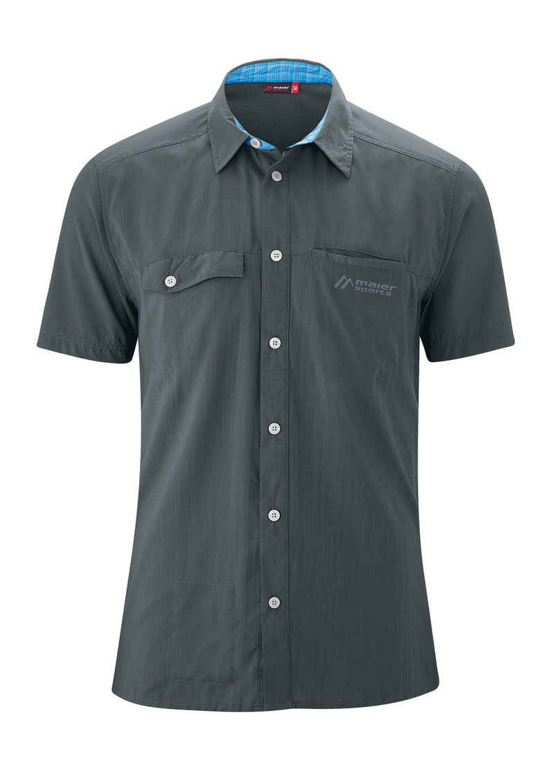 Maier Sports Funktionshemd »Arnes S/S« Bequemes Outdoorhemd mit kurzen Ärmeln und Sonnenkragen