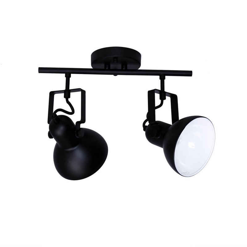Licht-Erlebnisse Deckenspots »DALLAS«, Spot Lampe Schwarz Metall lang retro Aufbaustrahler Lampe