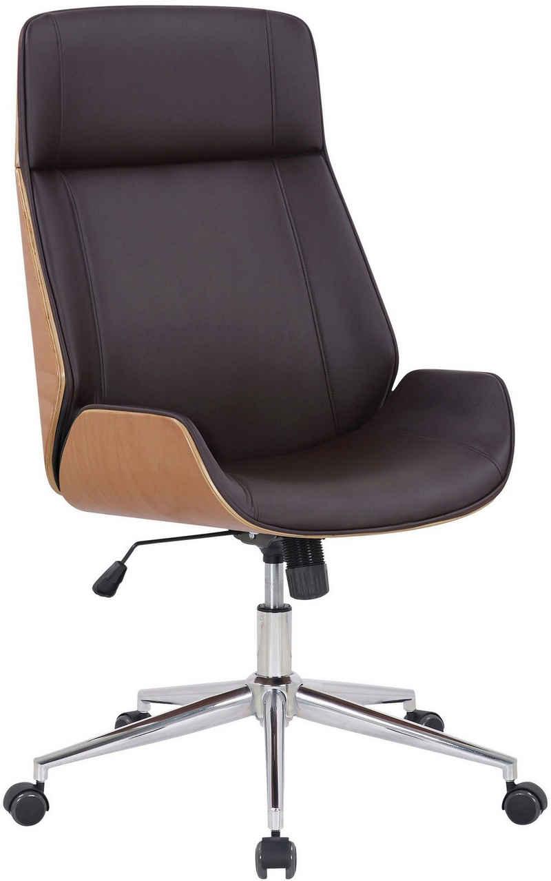 CLP Schreibtischstuhl »Varel«, Höhenverstellbarer Drehstuhl mit Chromgestell