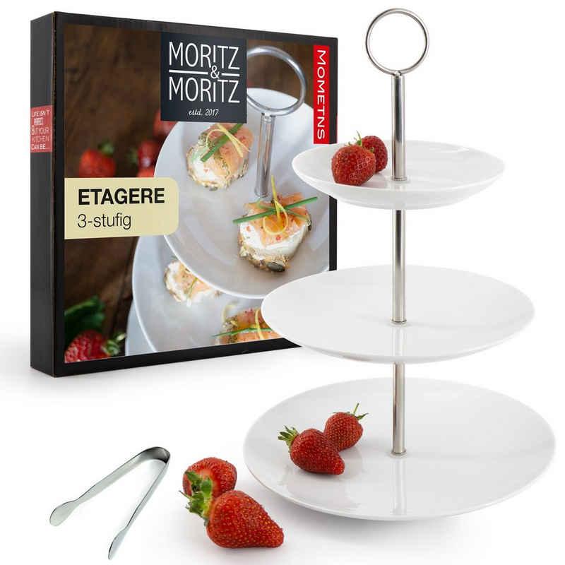 Moritz & Moritz Etagere »Obst Etagere 3 Etagen«, Porzellan, (3 stöckig), inkl. Zange Perfekt als Obstschale fr Obst Aufbewahrung, Muffins und Cupcakes