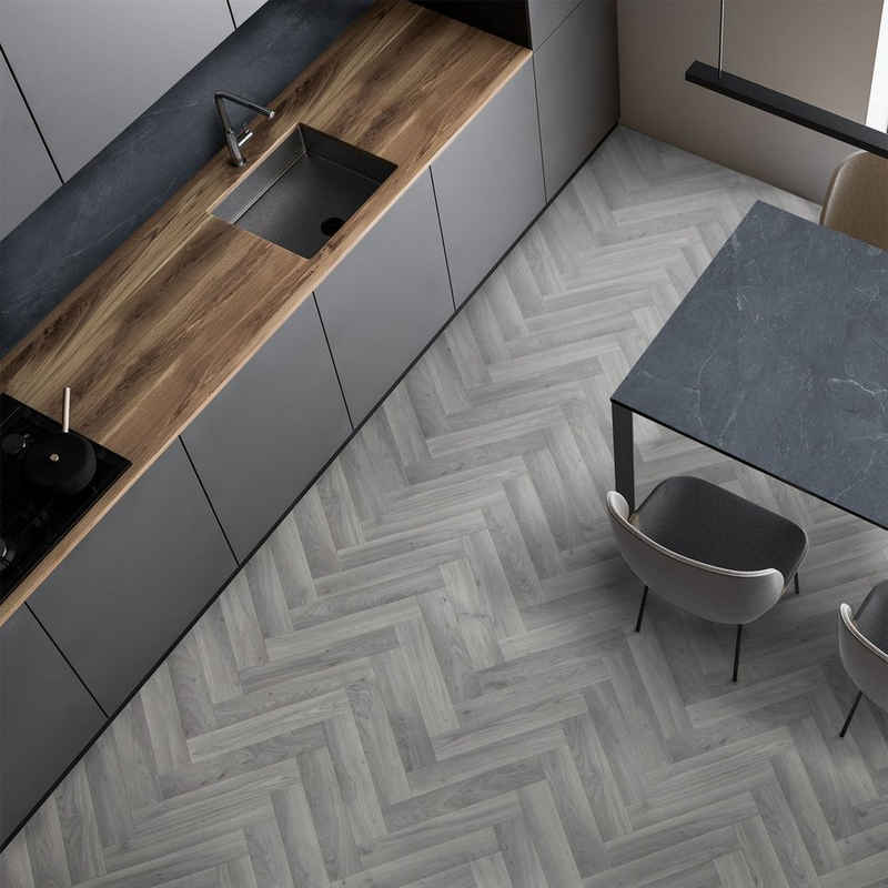 Vinylteppich »CV-Belag Plaza Oak Chevron 907M«, Floordirekt, rechteckig, Höhe 2.8 mm