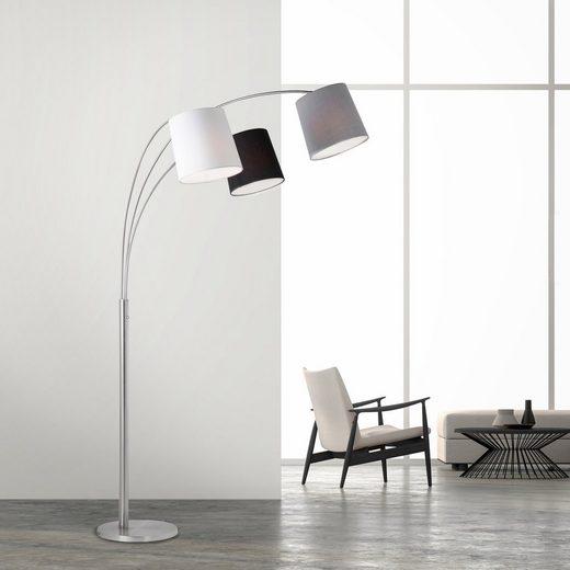 SellTec Stehlampe »MELVIN«, Retro Look, Stoffschirme in drei Farben, 3x E27