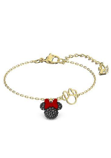 Swarovski Armband »Minnie, schwarz, vergoldet, 5566690«, mit Emaille und Swarovski® Kristallen