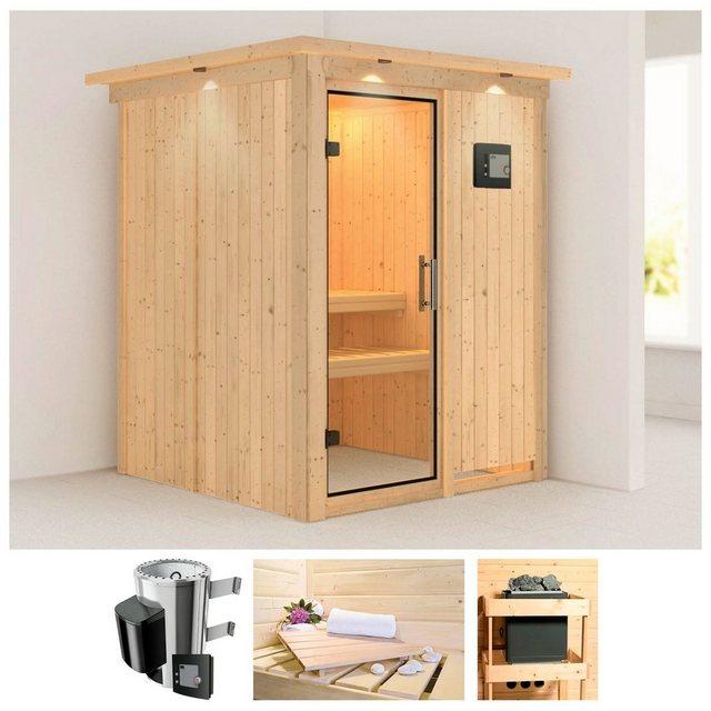 Saunen und Zubehör - KARIBU Sauna »Minja«, 165x165x202 cm, 3,6 kW Plug Play Ofen, ext. Strg., Dachkranz  - Onlineshop OTTO