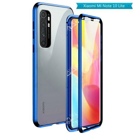 Wigento Handyhülle »Beidseitiger 360 Grad Magnet / Glas Case Hülle Handy Tasche Bumper Blau für Xiaomi Mi Note 10 Lite«