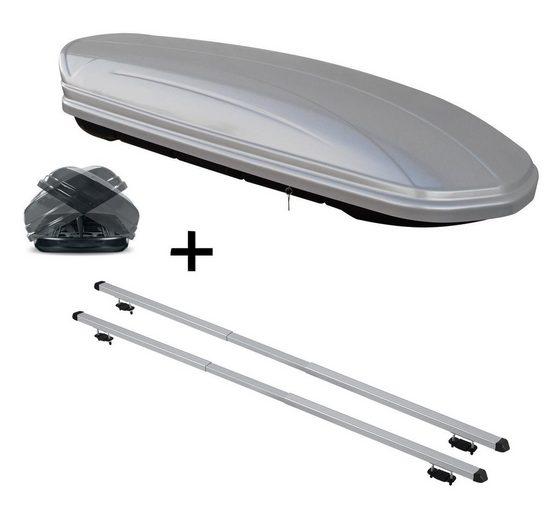 VDP Fahrradträger, Dachbox VDPMAA580 580 Liter Duo beidseitig aufklappbar silber + Dachträger RAPID kompatibel mit Mahindra Goa (5Türer) ab 02