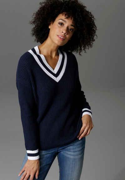 Aniston CASUAL V-Ausschnitt-Pullover mit gestreiften Bündchen
