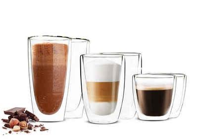 Sendez Thermoglas »6 Doppelwandige Gläser 2x450 2x200 2x90ml Kaffeegläser Thermogläser Set«, Glas