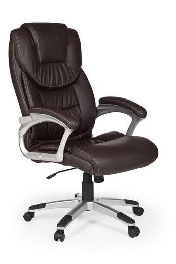 Amstyle Chefsessel »SPM1.025« Bürostuhl MADRID Kunstleder Braun ergonomisch mit Kopfstütze Design Chefsessel Schreibtischstuhl mit Wippfunktion Drehstuhl hohe Rücken-Lehne X-XL 120 kg
